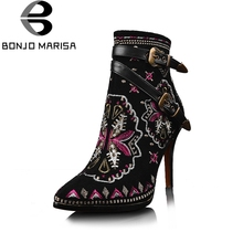 BONJOMARISA Retro Ethnic Embroidery Winter Shoes Women High Heel Ankle Boots Sexy Buckles Platform Shoes Women Winter Boots