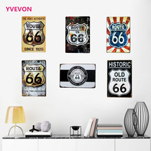 ROUTE 66 Retro Sign Metal Vintage Road Plate Car Decor Plate Automobile wall poster for shop boutique display 20x30cm(China)