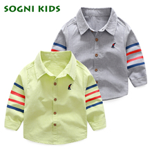 Boys Shirts for Girls British Children Solid New 2017 Long Sleeve School Blouse Kid Spring Autumn Clothes Turn Down Collar(China)