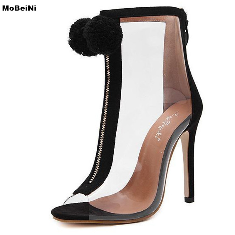 2017 New Summer Boots Transparent Women Sandals High Heels Fashion Open Toes Shoes Women Pumps With Fur<br>