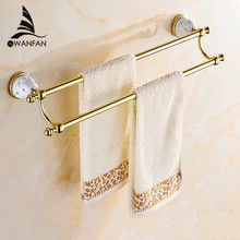 Towel Bars 60cm Gold Silver Double Towel Bar Towel Holder Solid Brass Made Wall Mounted Bath Products Bathroom Accessories 5211(China)