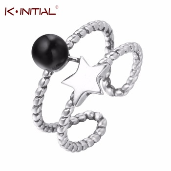 Kinitial 925 Thai Silver Round Black CZ Star Rings Double Twisted Line Adjustable Ring For Women Men Finger Around Cute Jewelry