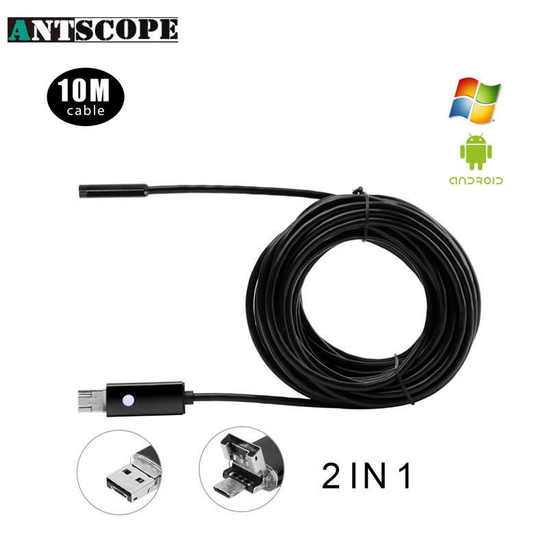 Antscope 3 Colors 5.5mm Lens 10M USB Endoscope Android Phone Endoscopio 2in1 Mini Endoscope Camera Waterproof Inspection Camera(China (Mainland))