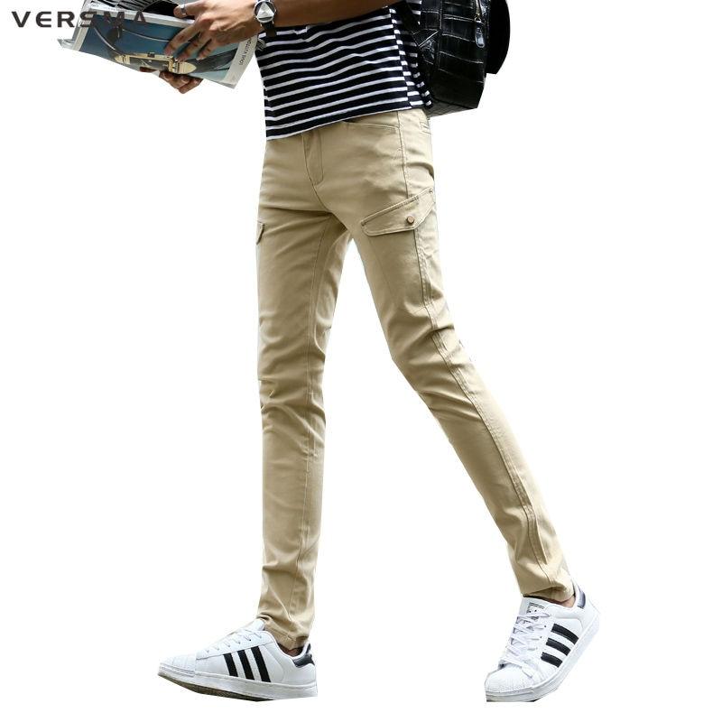 VERSMA Mens Khaki Pants Side Pockets Sweatpants Zipper Green Cargo Pants  Trousers Men US Camo Stylish Skinny Sweatpants for Men - Skinny Khaki Pants Mens Promotion-Shop For Promotional Skinny