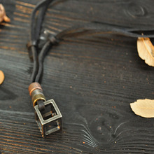 Hollow Cube Pendant Necklaces Casual Vintage Leather Rope Chain Necklace For Men Jewelry Daily Decor Gift 2*2cm(China)