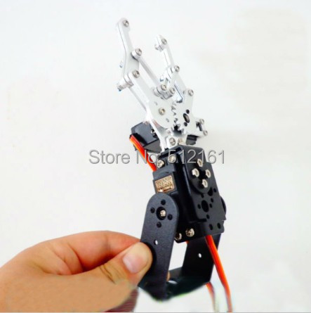 Black two degrees of freedom robot arm gripper metal package aluminum mounting frame<br>
