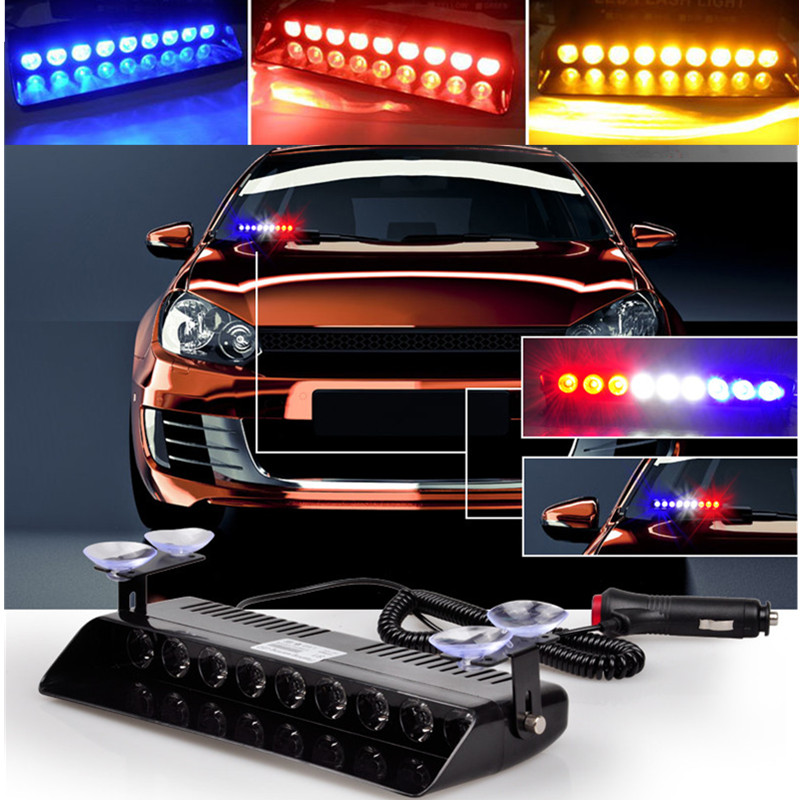 High Quality 9W LED Windshield Police Lights Warning Light Viper Car Flashing Strobe Truck Beacons Emergency Signal Lamp<br><br>Aliexpress