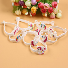 12 Pcs New Multicolor Animals Unicorn Rubber Bracelet Wristband Bangle Kids Birthday Party Gift Favors Hot Sale(China)