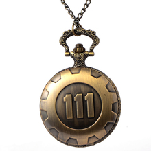 Cindiry Fashion Silver Gold Game Fallout 4 Vault 111 Quartz Pocket Watch Analog Pendant Necklace Mens Watches Womens Boy