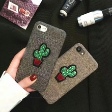 The latest fashion embroidery cactus soft case of flannel for iphone6 6s 7 7plus mobile phone back cover