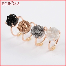 BOROSA Fashion Size 6&7 12mm Round Rose Gold Claw Titanium Natural Druzy Ring Fashion Drusy Rings for Women Girls Jewelry ZG0166(China)