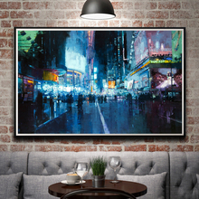 Artwork City Road Lights Oil Painting Times Square New York City USA Night Art Silk Poster Print Home Wall Decor Free Shipping