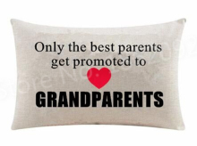 Only the Best Parents Get Promoted to Grandparents Lumbar Pillow Case Heart Love Grandma Grandpa Cushion Cover Rectangle Gifts(China)