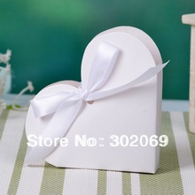 Free Shipping Heart Shape White Color Paper Candy Boxes Gift Boxes Party Gift Boxes 50pcs(China)