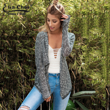 Eliacher Autumn Lady Grey Thin Knitted Cardigans Women Fashion Full Sleeve Sweater Brand Plus Size Casual Sweaters 8572
