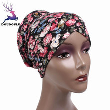 DOUDOULU 2017 New Floral Winter Women Hats Flower Cancer Chemo Hat Beanie Scarf Turban Head Wrap Cap Dropshipping #ZH