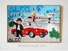 Free shipping pop artist Painting Richie Rich Graffiti Money art Alec Monopoly Banksy arts By hand painted no frame x-172