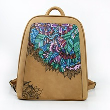 Women Stylish Fashion Imported PU Leather And Canvas Backpack Traditional Chinese Style Printing Hand-held Bag Ladies Schoolbag