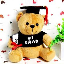1pcs 20cm plush doctor Dr. Bear learn to read Bear Hat  plush toy doll  Graduation Gift Plush Doctorial hat Bear