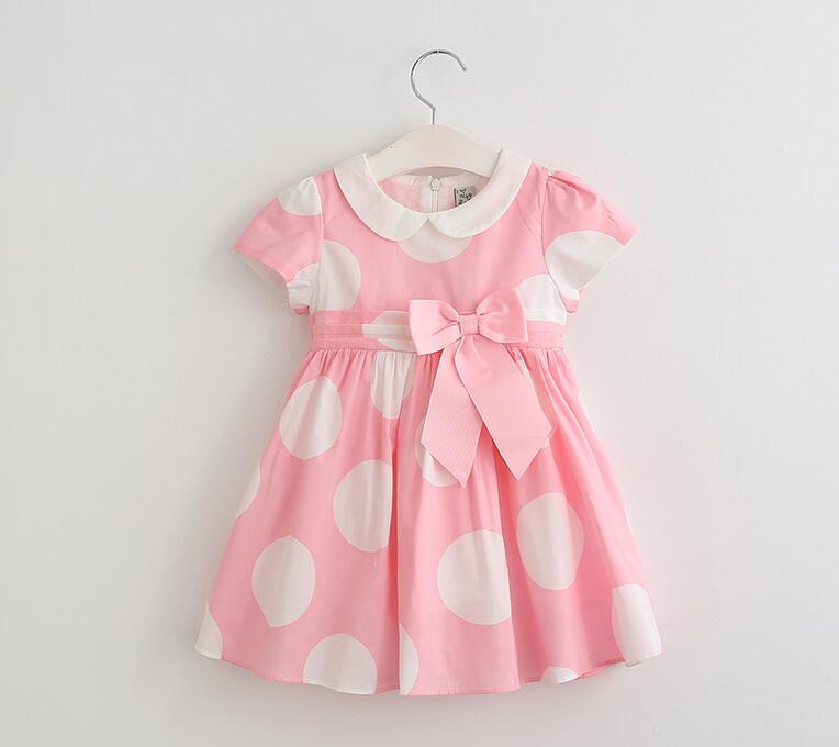 2017 Hot Sale Summer Peter Pan Collar Big White Dot Belt Bow Kids Princess Dress Children Dot Cotton Dress Clothes Pink Yellow <br><br>Aliexpress