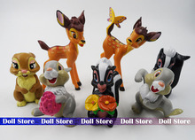 7PCS/lot 5-9cm PVC Forest animal action figure set/rabbit/Squirre/Deer best kids story toys(China)