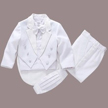 2017 new fashion white/balck baby boys suit kids blazers boy suit for weddings prom formal spring autumn wedding dress boy suits(China)
