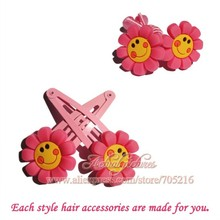 Hot 2pairs Pink Flower pvc Cartoon Hairpin kids hair clip cute hairgrip barrettes hair accessories for girl headwear party gifts