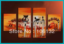 Framed 4 Panel Huge High End Sunset Landscape African Women Paintings Wall Art quadro Pictures A0225