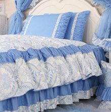 Romantic blue geometric bedding sets adult,twin full queen king cotton single double bedclothes bedskirt pillow case quilt cover