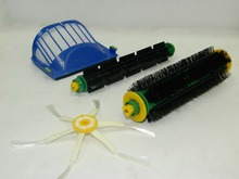 Aerovac Filter+6 Arms Side Brush+Bristle and Flexible Beater Brush for iRobot Roomba 500 Series with green cleaning head modules