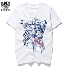 Rocksir body is my guitar Music design print Summer T-shirt men's T-shirts Cotton tee shirt white T-shirts tshirt men t shirts(China)
