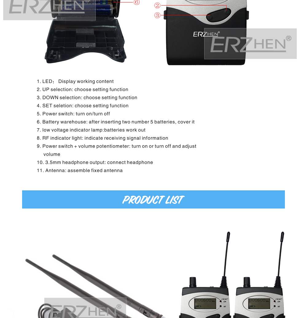 EM2050 Professional 10 receivers in stage monitor sound systems ear system Transmitter Sets ERZHEN