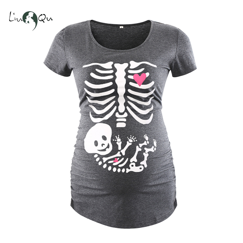 halloween maternity t shirt skull pregnancy top maternity clothes ropa embarazada cool bone pregnant mama tee