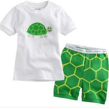 New summer arrival girls green turtle cartoon sleepwear kids cotton short sleeve clothing sets baby pijama night wear home(China)