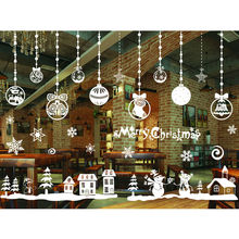 1x Christmas Decorations 2017 DIY Christmas Wall Stickers Ornaments New Year Gifts Window Glass Decorative Wall Sketch SD319