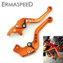 Pair Orange CNC Aluminum Brake Clutch Levers Motorcycle Racing Adjustable lever for KTM DUKE 125 200 All Year 390 2013 2014 2015