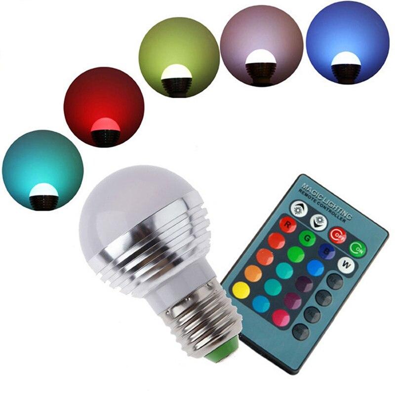 LED RGB Bulb Lamp E27 AC85-265V 3W LED RGB Spot Blubs Light Magic Holiday RGB lighting+IR Remote Control 16 Colors<br><br>Aliexpress