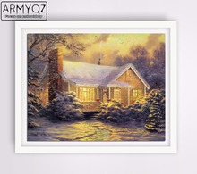 ARMYQZ Diamond Painting Cross-stitch set Diamond Embroidery Winter House Yellow Mosaic Decorative Photos Home Christmas gift