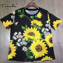 Truevoker Summer Fashion Designer T- Shirt Women's High Quality Short Sleeve Yellow Sunflower Printed Diamond Sheath Tee