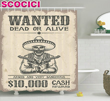 Western Decor Shower Curtain Set Illustration Of Dead Skull With Cowboy Hat And Pistols In Retro Vintage Texas Art Print Bathroo