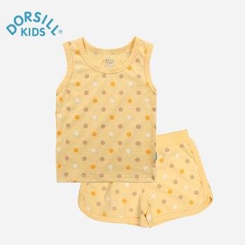 Enfants Vêtements Ensemble Dorsill 2017 Nouvelle D'été de Garçons Ensembles 100% Coton Casual Polka Dol Pour Fille Gilet Ensembles 2 Pièces Livraison Gratuite