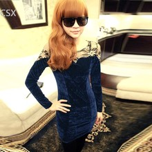 Alishebuy New Sexy Women's Lace Splicing Pleuche Lace Patchwork Long Sleeve Party Club Bag Hip Mini Dress Black/Dark Red/Blue(China)
