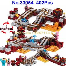 33054 402pcs 3in1 My World Hell Infernal Train Steve Zombie Pig Lele Building Block Compatible 21130 Brick Toy