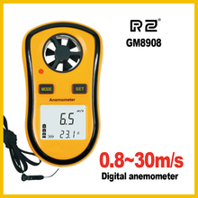 Free Shipping GM8908 30m/s (65MPH) LCD Digital Hand-held Wind Speed Gauge Meter Measure Anemometer Thermometer