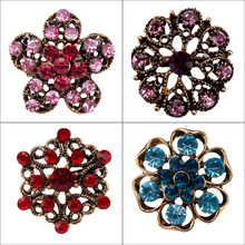 Antique Gold Color Plated Crystal Rhinestones Small Cute Brooch Lapel Pins for Women or Girls in 12 Assorted