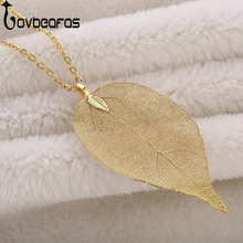 LOVBEAFAS Fashion Maxi Long Necklace Women Jewellery Statement Collar Necklaces & Pendants Chain Real Natural Leaf Necklace Gift(China)