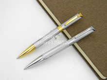 HIGH QUALITY Drawing pattern silvery STAINLESS STEEL golden piece BALLPOINT PEN