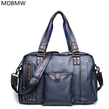 Quality Design Vintage Leather Luggage Travel Duffle Bag Men Fashion Waterproof Laptop Computer Bags Casual Tote Bag Handbags(China)