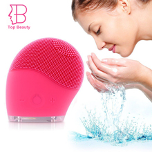 TOP BEAUTY Waterproof Electric Silicon Vibrate Facial Cleanser Sonic Brush Pore Clean Skin Scrubber Massage Face Skin Care Spa