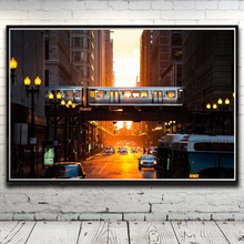 City Street Light Metro Chicago Train Art Silk Poster Home Decor Picture 12x18 16X24 20x30 24x36 Inches Unframed Free Shipping